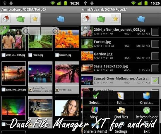 Dual page view file manager