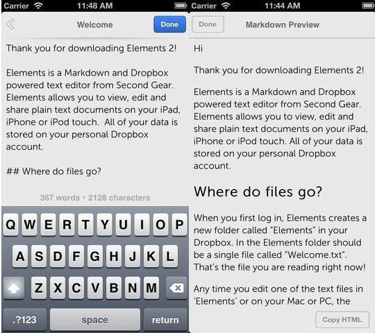 Elements For Dropbox 6 useful Dropbox Text Editors for iPhone and iPad