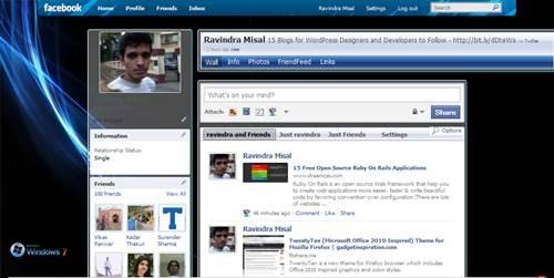 Facebook theme for Windows 7 Black edition