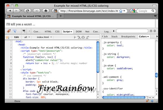FireRainbow 11 useful JavaScript syntax highlighter