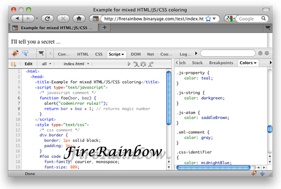 FireRainbow 11 useful JavaScript syntax highlighter