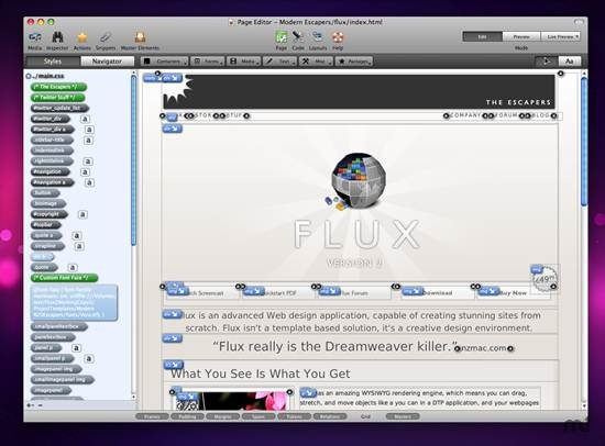 Flux XHTML and CSS code editor