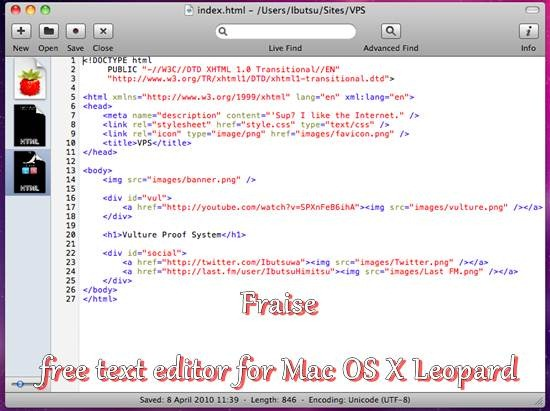 Fraise - free text editor for Mac OS X Leopard