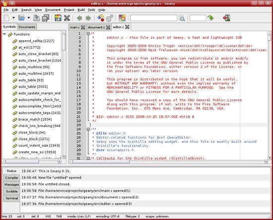 Geany - GTK2 toolkit based text editor