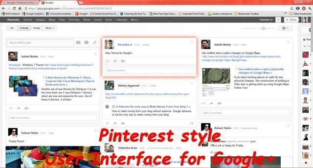 Google+ Pinterest Pinterest style User Interface for Google+ [How-to]