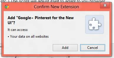 Add Google+ Pinterest extension Pinterest style User Interface for Google+ [How-to]