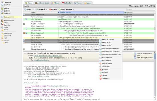 Horde IMP email client 6 useful Ajax and PHP based Webmail Client