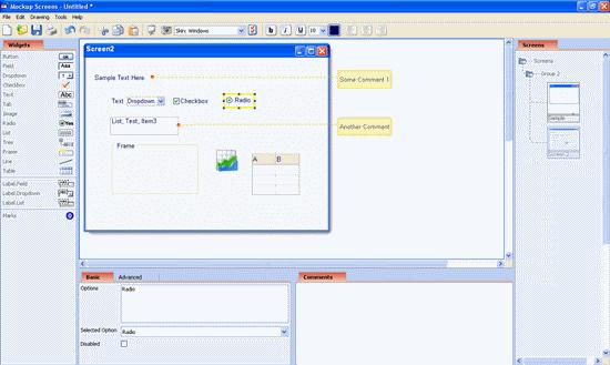 MockupScreens prototyping tool