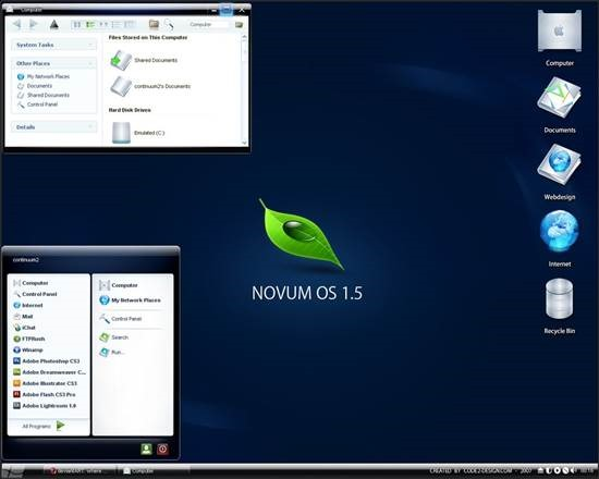 Novum_OS_1_5 55 most Beautiful free Window XP Themes and Visual Styles
