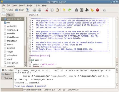 OpenLDev - open source IDE for Linux
