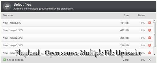 Plupload Open source Multiple File Uploader