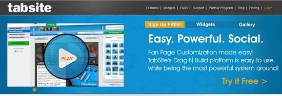 TabSite 13 useful Custom Facebook Fan page builder