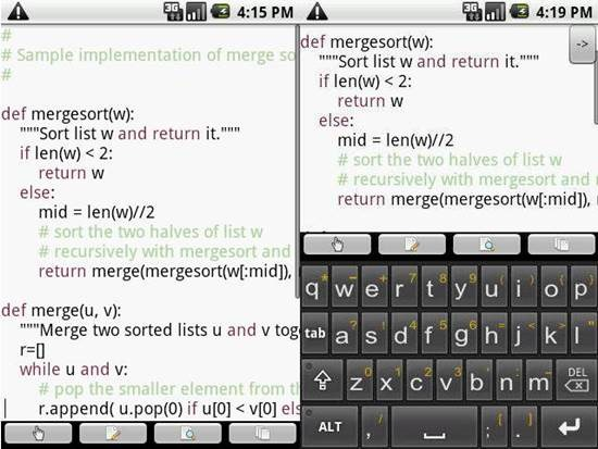 Touchqode - Mobile code editor for android