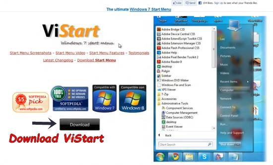 ViStart How to install Window 7 start menu Orb in Windows 8 release preview