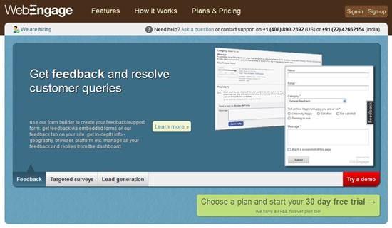 WebEngage - Online feedback and survey tool