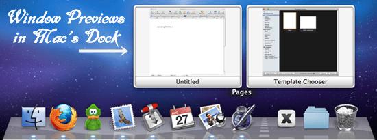 Window Previews in Mac's Dock