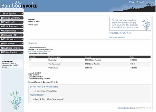 BambooInvoice - Free Online Invoicing application