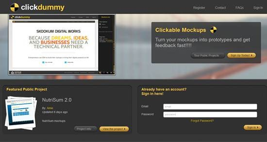 ClickDummy 15 useful wireframing, prototyping and Mockups tools