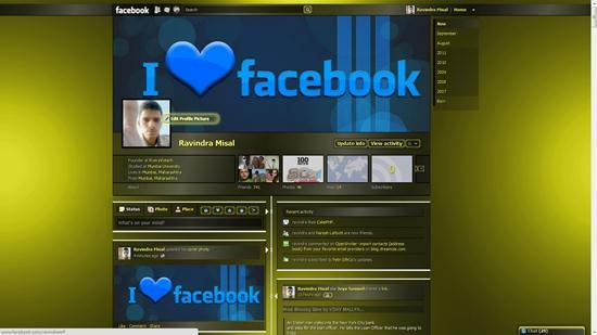 dark yellow transparent facebook timeline theme