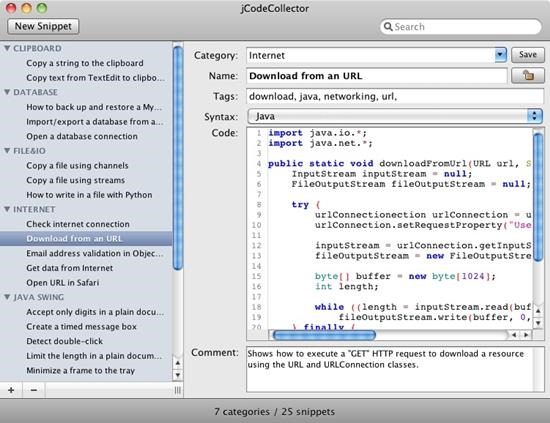 jCodeCollector Top 10 Code Snippets manager for Mac