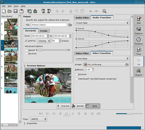 kino Open source non-linear video editing tool
