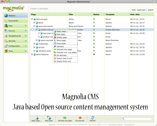 magnolia CMS - open source java based CMS