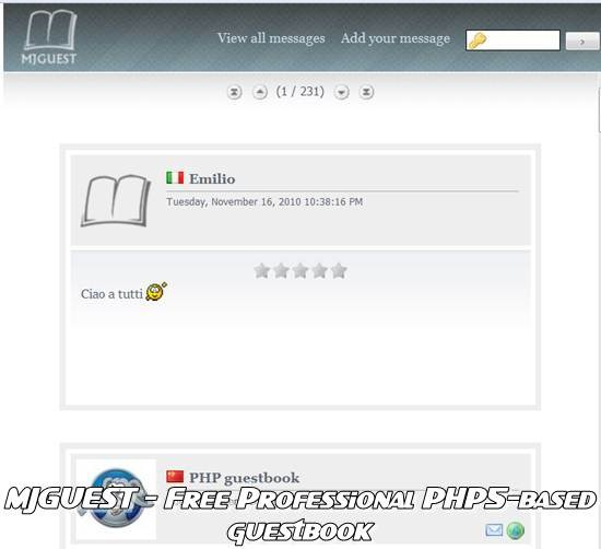 mjguest - Web 2.0 Free Professional PHP guestbook