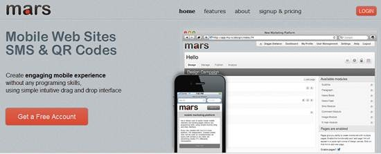 mobile website with Mars