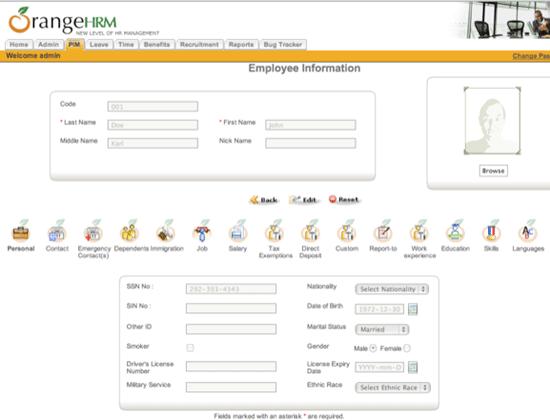 orangehrm - Human Resource Management System