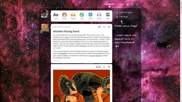 hipster galaxy 49 Useful Tumblr dashboard theme for Tumblr User