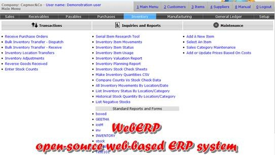 weberp - open source web based ERP system