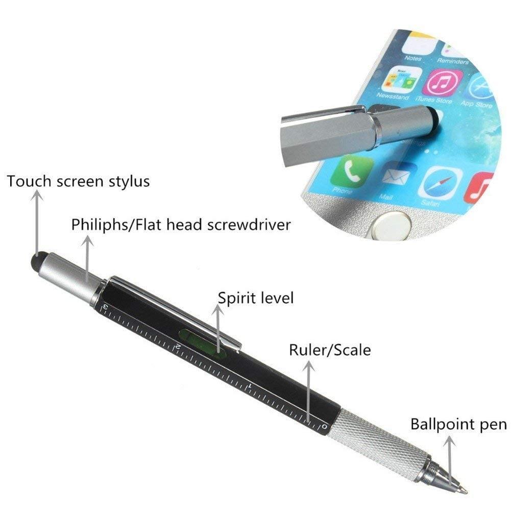 מותג חדש עט מולטי-טול עם פלס סרגל מברג עם ראשים מתחלפים וסטילוס למסך מגע WC-69