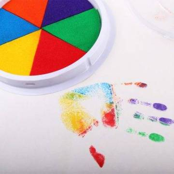 Funny 6 Colors Ink Pad Stamp DIY Finger Painting Craft Cardmaking For Kids Montessori Drawing baby 5 Giant Washable Paint and Inking Pad
