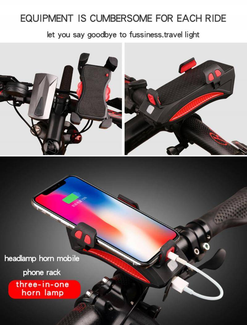 H698c6cb64c7e495887a4bd1c63ea065dy Multi-function Bicycle Light phone holder + flashlight +power bank