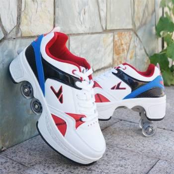 Hot Shoes Casual Sneakers Walk Skates Deform Wheel Skates for Adult Men Women Unisex Couple Childred 2 Turn Your Shoe Into Skate - Skateshoe