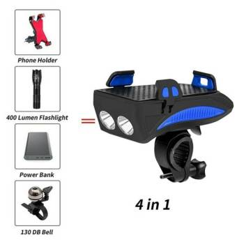 Multi function Bicycle Light USB Rechargeable LED Bike Head Lamp Bike Horn Phone Holder Powerbank 4 4 Multi-function Bicycle Light phone holder + flashlight +power bank