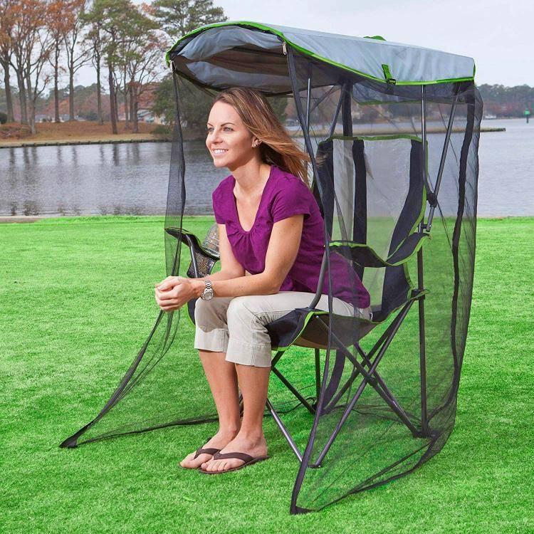 this genius canopy chair with a screen protects you from the sun and mosquitoes 1294 Awesome Canopy Chair With Mosquito Protector