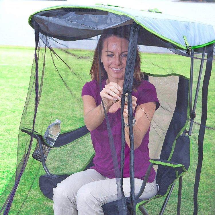 this genius canopy chair with a screen protects you from the sun and mosquitoes 6034 Awesome Canopy Chair With Mosquito Protector