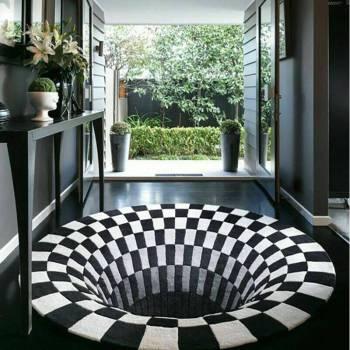 3D Swirl Print Optical Illusion Areas Rug Carpet Floor Pad Non slip Doormat Mats for Home 1 3D Vortex Illusion Rug