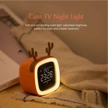 Temperature Night Light Alarm Clock Timing Table TV Shape Digital Adjustable Brightness Smart Snooze Function Cute 1 Cute TV Shaped Night Light