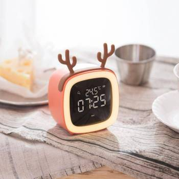 Temperature Night Light Alarm Clock Timing Table TV Shape Digital Adjustable Brightness Smart Snooze Function Cute 2 Cute TV Shaped Night Light