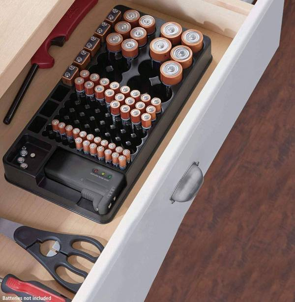 Battery Organizer Storage case with Tester Gadkit