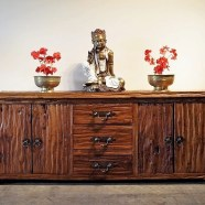 Reclaimed Teak Large Sideboard with Brass Handles