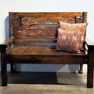 Carved Rustic Indonesian Bench
