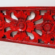 Red Carved Wood Bali Panel