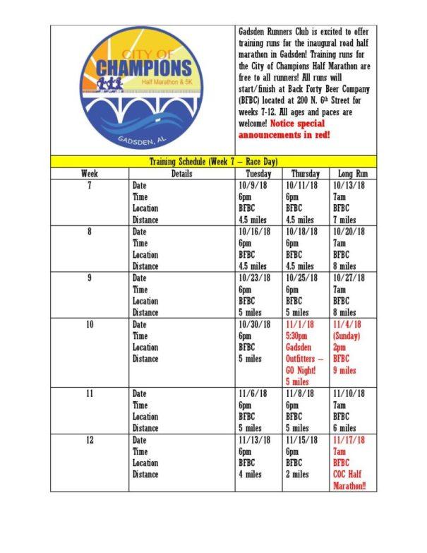 Half Marathon Calendar.Latest News Gadsden Runners Club