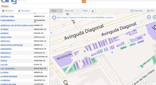 Bing mapas centros comerciales