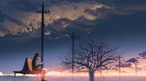 Konachan.com - 51964 brown_hair byousoku_5_centimetre clouds scenic seifuku shinkai_makoto shinohara_akari sky sunset tree