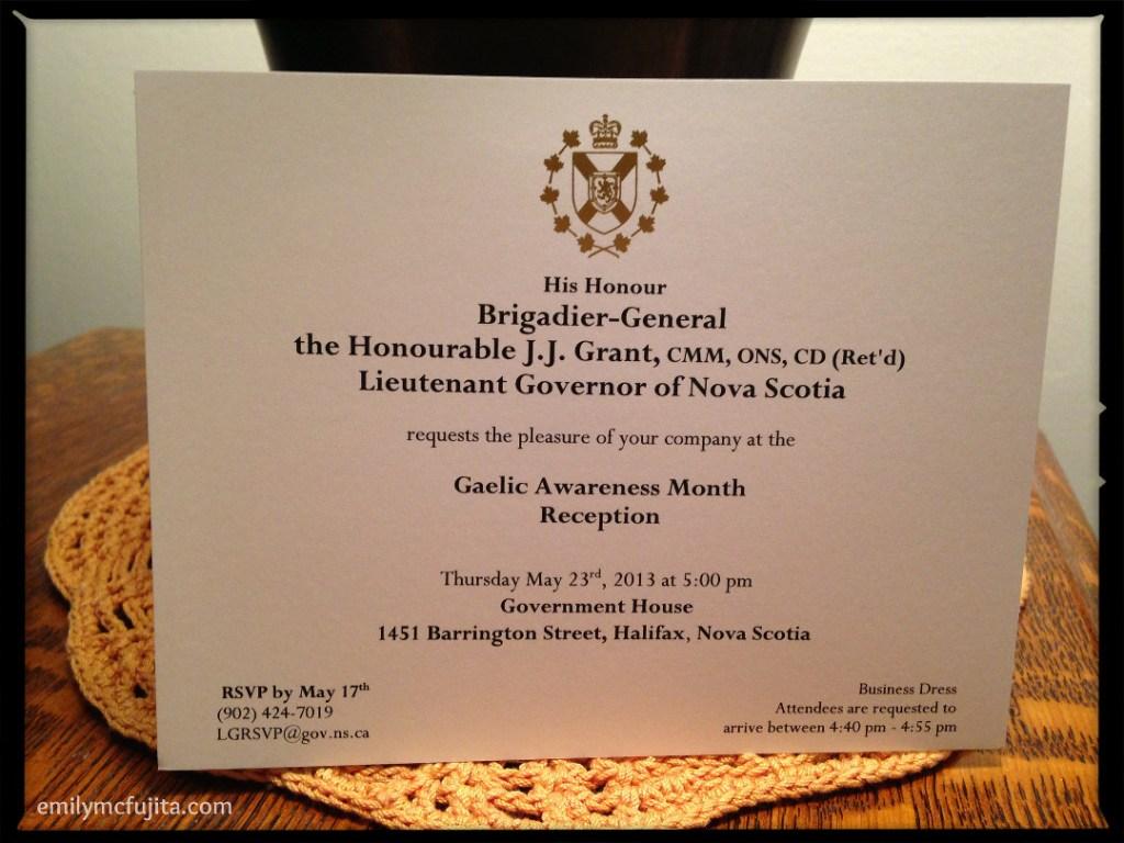 A Government House invitation