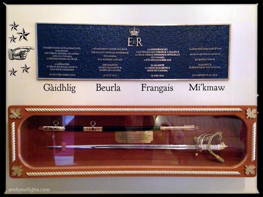Quadrilingual (Gaelic-English-French-Mi'kmaw) Dedication Plaque at Government House, Halifax